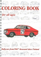 Coloring Book for all ages - Rallycars from 1960's thousand lakes Finland