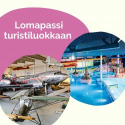 Lomapassi, turistiluokka:Perhelippu (2 junnua + 2 aikuista) 80 €