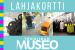 Turkoosilla pohjalla tekstit lahjakortti ja Tekniikan museo, lisäksi kuva museon näyttelystä