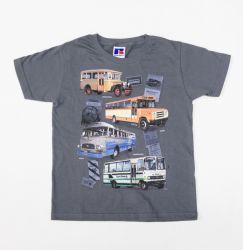 Linja-autoaiheinen lasten t-paita