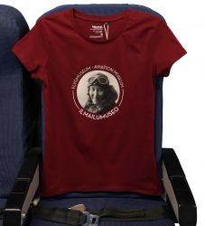 Ilmailumuseon naisten t-paita, viininpunainen